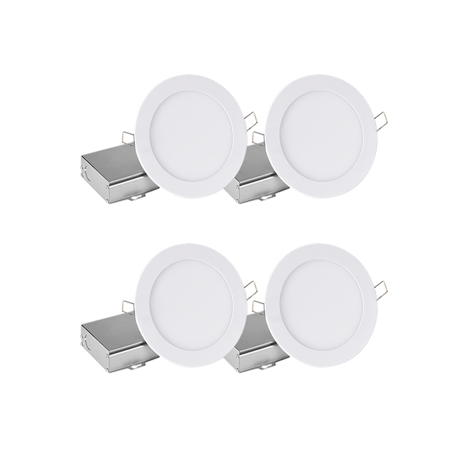 Leadvision 4-Pack 11 W Warm White Recessed Dimmable LED Lights with Remote Junction Box