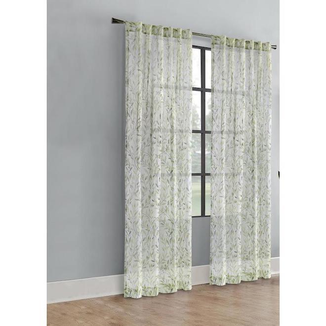 Rideau filtrant Verdure en polyester, languettes arrière, 52 po x 84 po, vert
