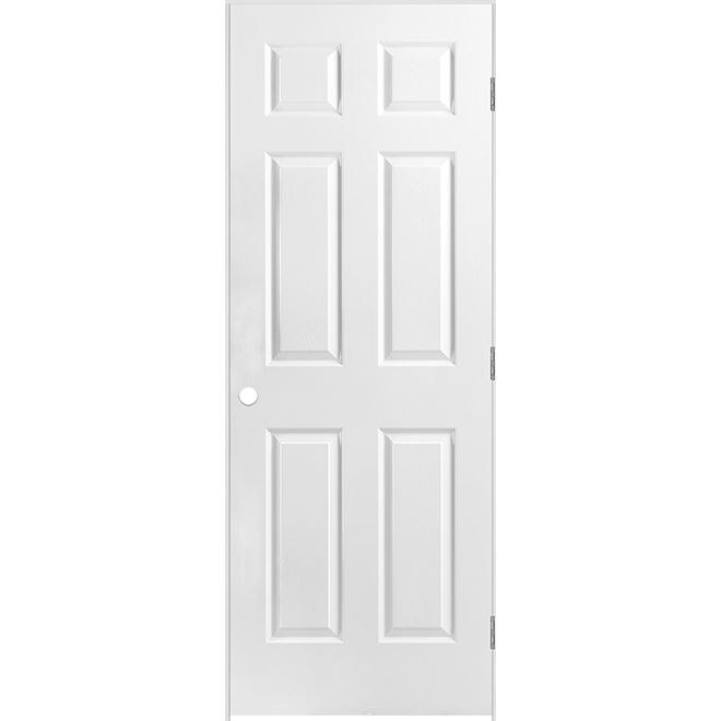 Porte prémontée à 6 panneaux