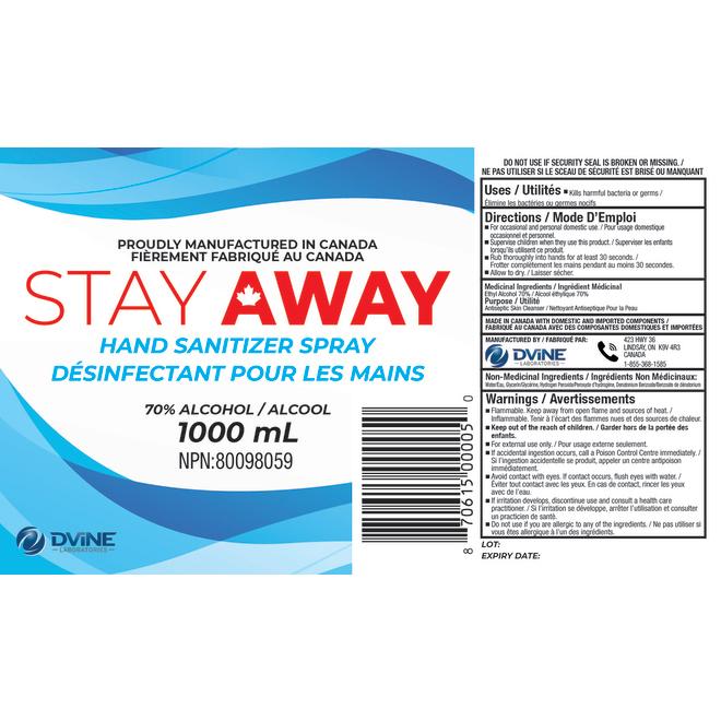 Stay Away - Hand Sanitizer Spray - 1 L