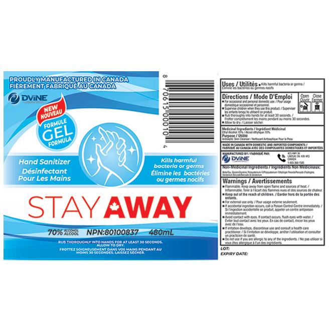 Stay Away Hand Sanitizer - Alcohol - 16.23 oz