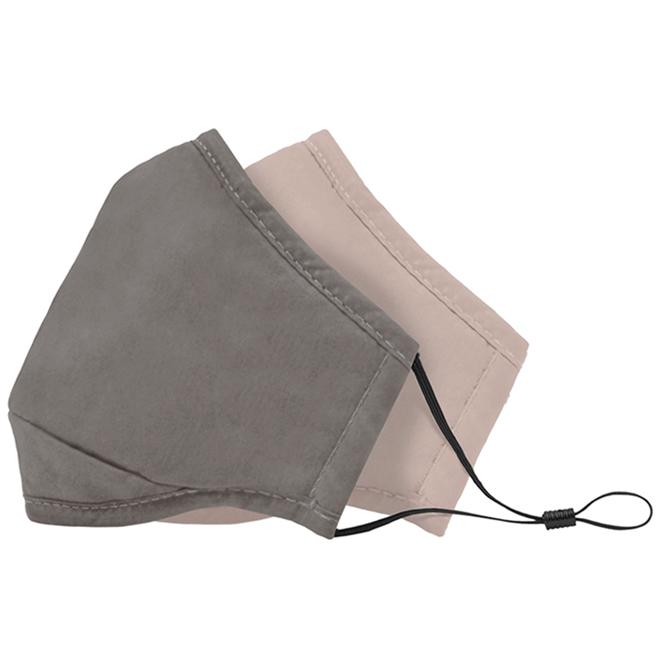 Masques en coton Swiss Mobility, gris/rose, 2/pqt