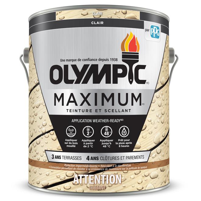 Teinture et scellant d'extérieur pour bois Olympic Maximum, transparent, clair, 3,78 l