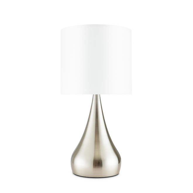 Lampes de table allen + roth, 18,5 po x 8,75 po, métal/tissu, nickel brossé/blanc, ensemble de 2