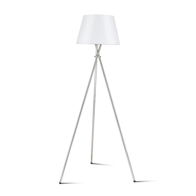 Lampe sur trépied allen + roth, 59 po, métal/tissu, nickel brossé/blanc