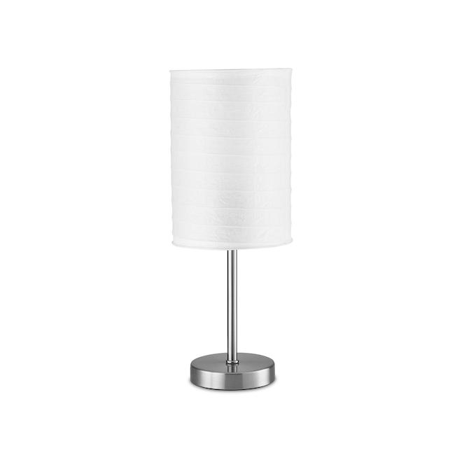 Lampe de table Project Source, 18 po, métal/papier de riz, nickel brossé/blanc