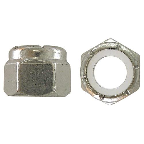 Écrous freinés hexagonaux à bague de nylon Precision, 5/16 po de diamètre, 18 pas, zingués, paquet de 50