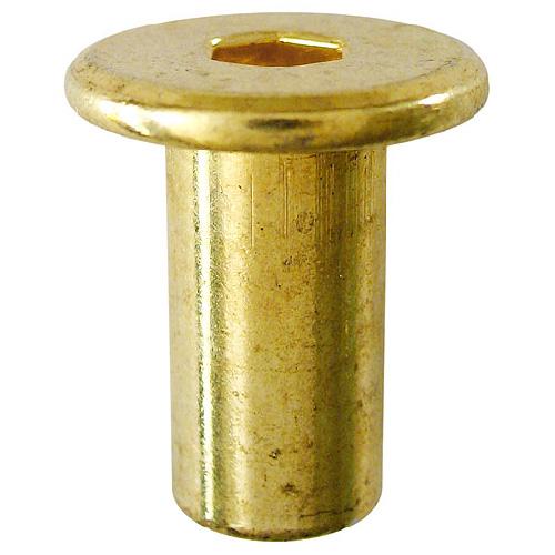 Écrous à chapeau Precision, acier, laiton, 25 par paquet, 1/4 po diamètre