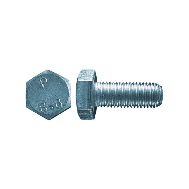 Boulons métriques à tête hexagonale Precision, M8 x 20 mm, calibre 5, 7/bte, zingués, filetage fin, acier ordinaire