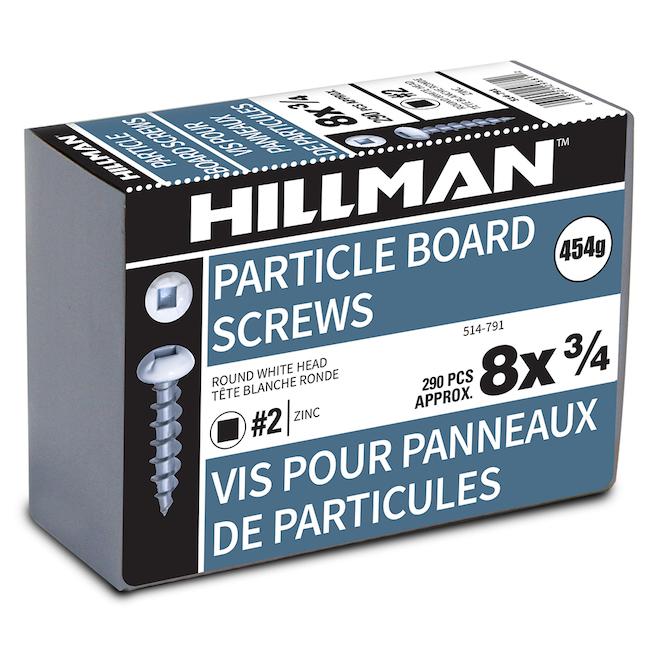 Vis à tête cylindrique pour panneaux de particules de Precision, blanches, acier, carrée, paquet de 1 lb, no 8 x 3/4 po