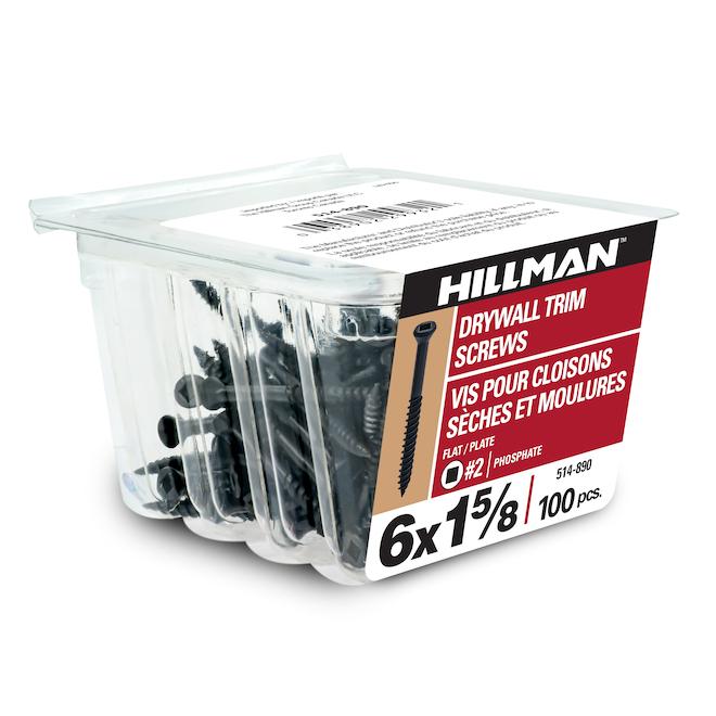 Vis à gypse à douille Precision, acier, noires, boîte de 100, no 6 x 1 5/8 po L.