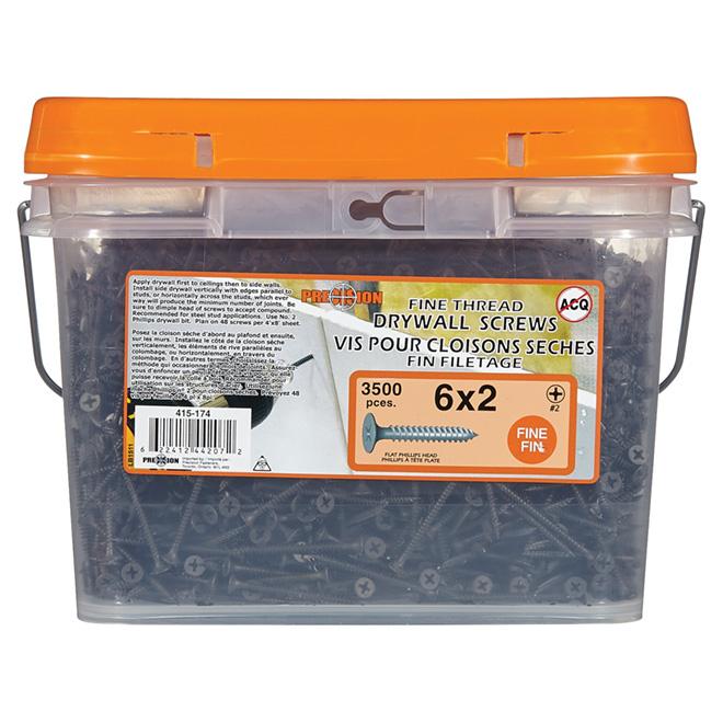 Precision Drywall Screws - Coarse Thread - Black Phosphate - Steel - #6 dia x 2-in L - 3500-Pack