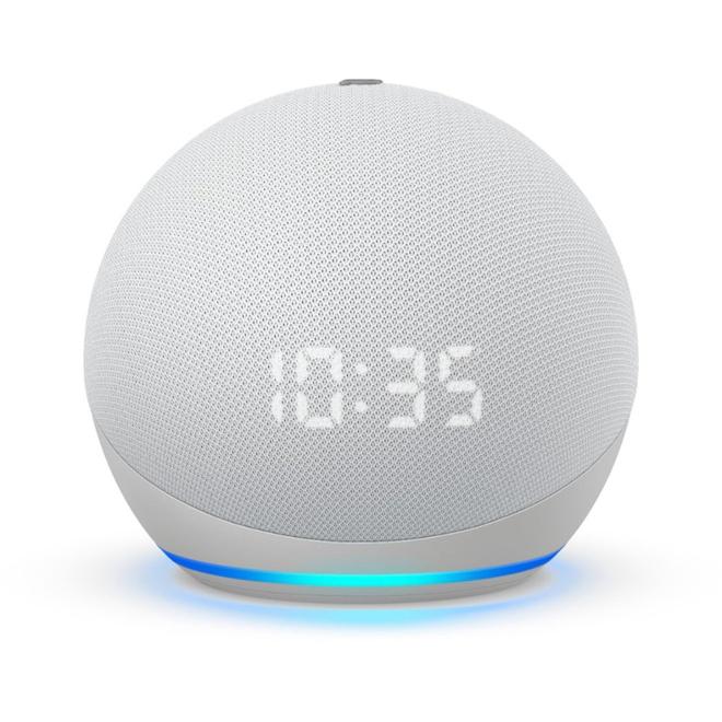 Haut-parleur intelligent Amazon Echo Dot 4e génération avec horloge, blanc glacier