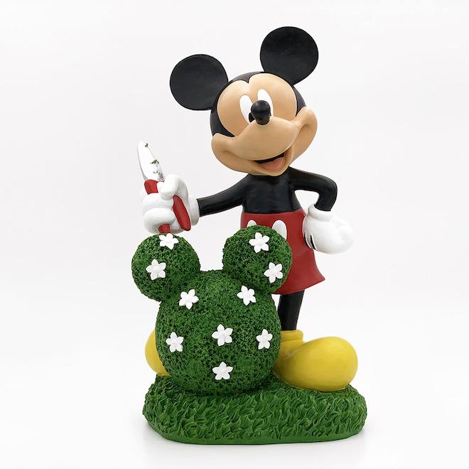 Statue de Mickey Mouse avec topiaire floral, résine, 14 po