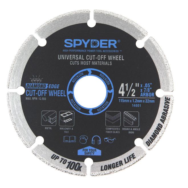 Lame à couper en carbure diamanté Spyder 4,5 po, paquet de 2