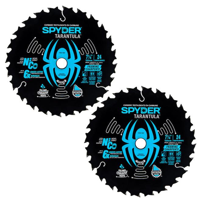Lame de scie circulaire pour charpente Tarantula Spyder 7,25 po 24 dents au carbure de tungstène, paquet de 2