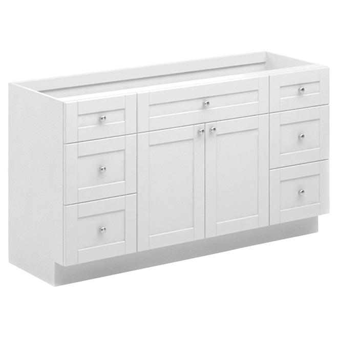 "Meuble-lavabo, Arctiq, 2 portes/4 tiroirs, 60"", blanc"