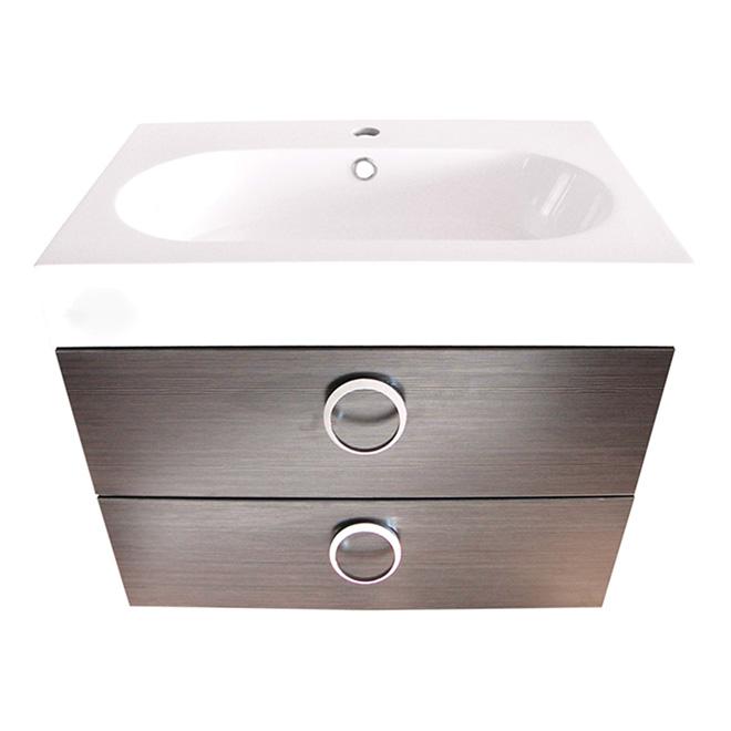 Meuble-lavabo 1 tiroir et évier « Relax » -  Gris argent