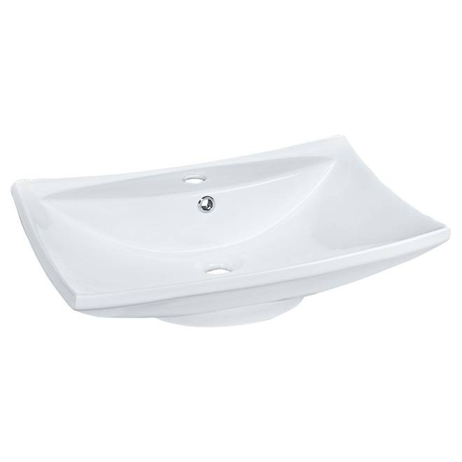 Vasque rectangulaire en porcelaine, blanc