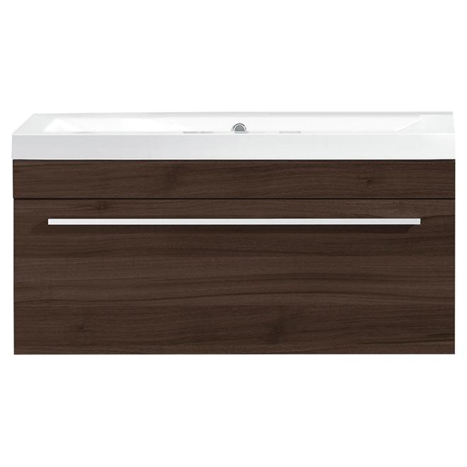 Luxo Marbre Relax Bathroom Vanity - Integrated Sink - 30-1/8-in Width - Alamo Oak - Overflow Drain - 4-in Centreset