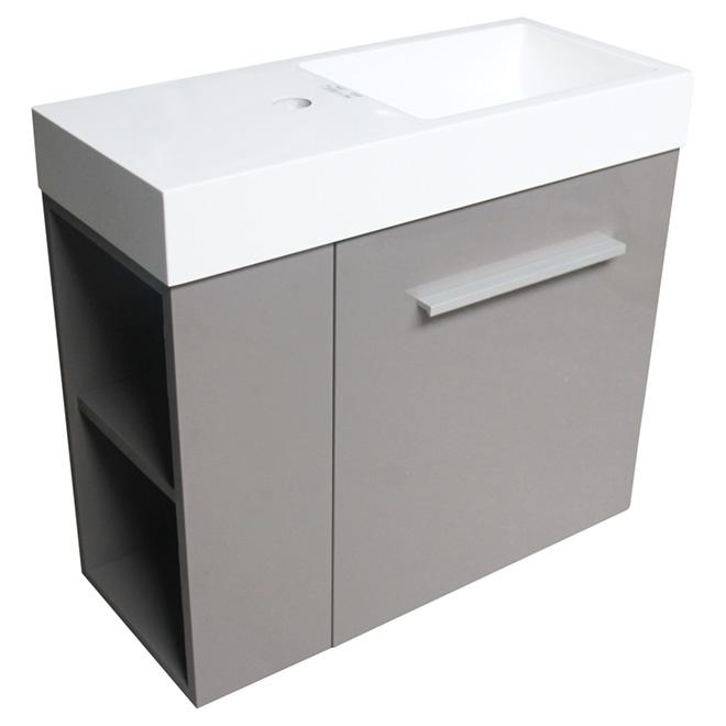 meuble lavabo mini 1 porte 24 x 10 x 21 gris