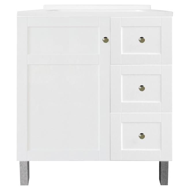 Meuble-lavabo Tender de Luxo Marbre, 1 évier en similimarbre, 1 porte et 3 tiroirs, 31 po, MDF laqué, blanc