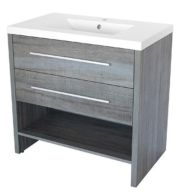 Meuble-lavabo Luxo Marbre, 2 tiroirs, moderne, marbre