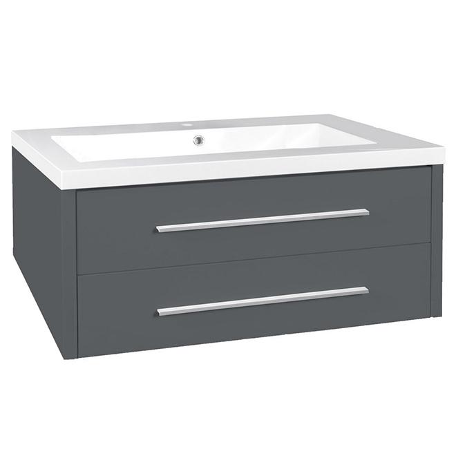 "Meuble-lavabo, 2 tiroirs, 301/8"" x 213/4"", gris"