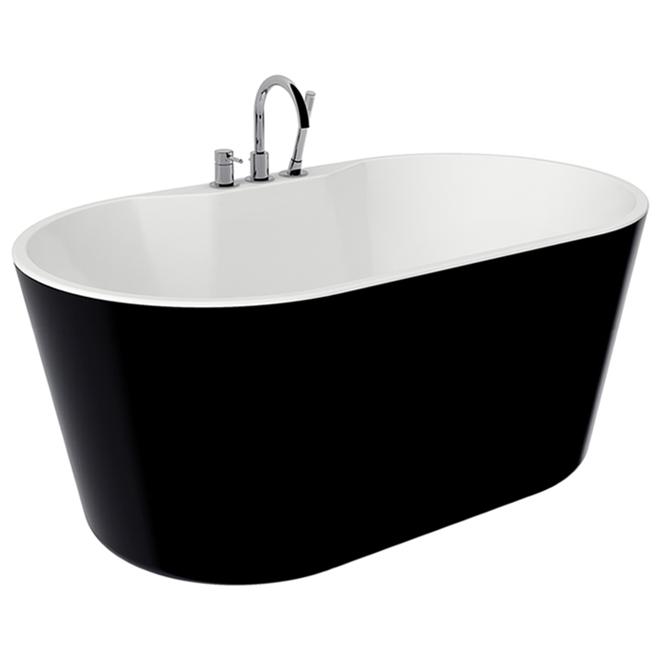 Bain autoportant, A&E Nilene, acrylique 56 po noir mat