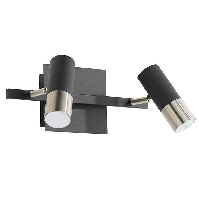 Plafonnier, 2 lumières, DEL 5 W, noir/acier