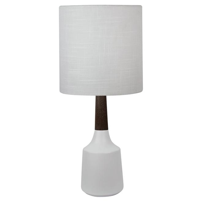 Woodland Table Lamp - Ceramic and Wood - Shade - White