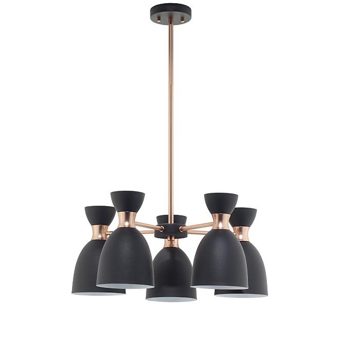 Luminaire suspendu à 5 lumières Timmo, noir et cuivre