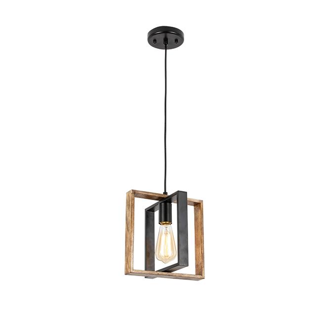 """Weston"" 1-Light Pendant Fixture - 60 W - Black/Wood"