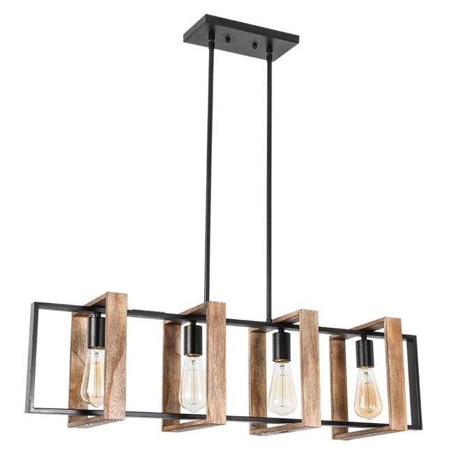 Luminaire suspendu «Weston» à 4 lumières, 60 W, bois