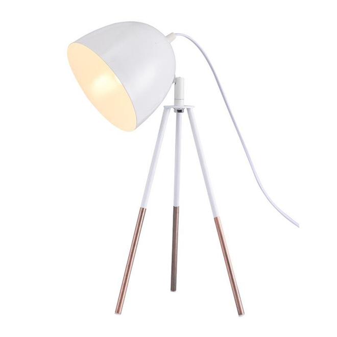Lampe sur trépied Gaga de Lumirama, métal, blanc et cuivre