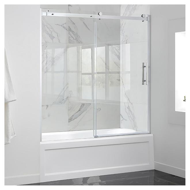 """Sliding Clear Glass Tub Door - 60"""" - Chrome"""