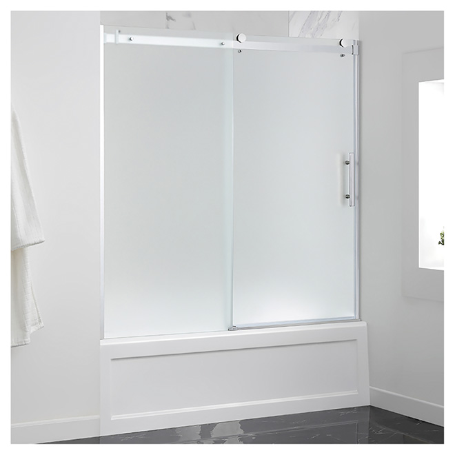 Sliding Frosted Glass Tub Door 60 Chrome