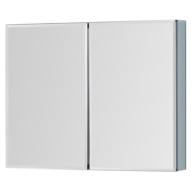 Medicine Cabinet - Mirror Doors - 4 Shelves - Aluminum/Glass