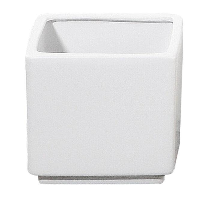"Pot Cover - ""Panna"" Square Ceramic Pot Cover 7""- White"