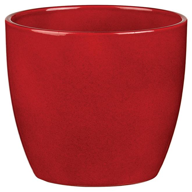 """Ceramic Pot Cover - 5"""" - Dark Red"""