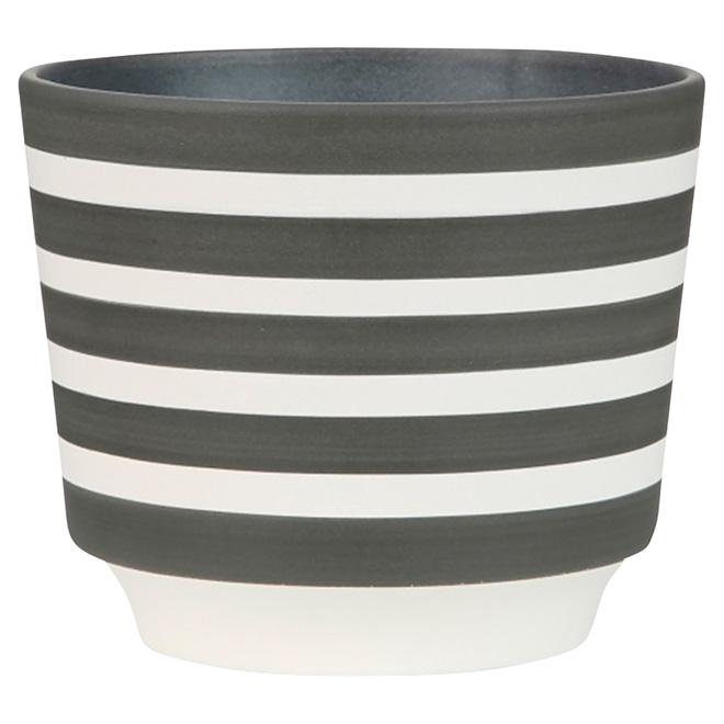 """Cache-pot en céramique, 831, 6 1/4"""", rayures grises"""