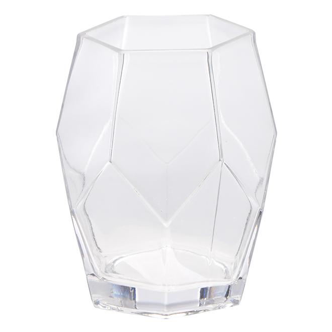"""Vase de forme géométrique en verre transparent, 6"""""""
