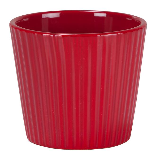 Cache-pot en céramique, rouge
