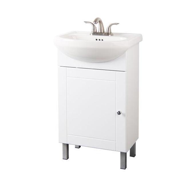 Meuble-lavabo Euro, 1 porte, 20'' x 34'' x 11'', blanc