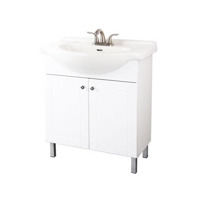 Meuble-lavabo Euro, 1 porte, 30'' x 34'' x 13'', blanc