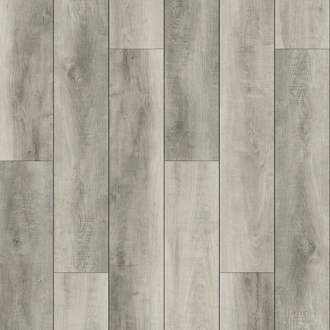 Plancher de vinyle Argenté de Mono Serra, 3,5 mm, 28,38 pi², 12 lamelles, gris