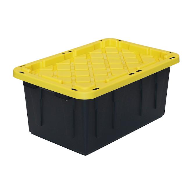 Bac de rangement robuste GSC Technology, plastique, 64 litres, noir et jaune