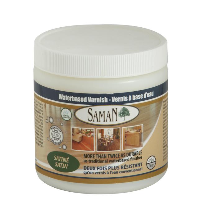 Saman Interior Wood Varnish - Clear - Satin Sheen - Water-Based - 472 ml
