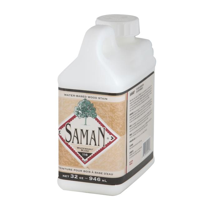 Saman One Coat Interior Wood Stain - Water-Based - Odourless - White - 946 ml