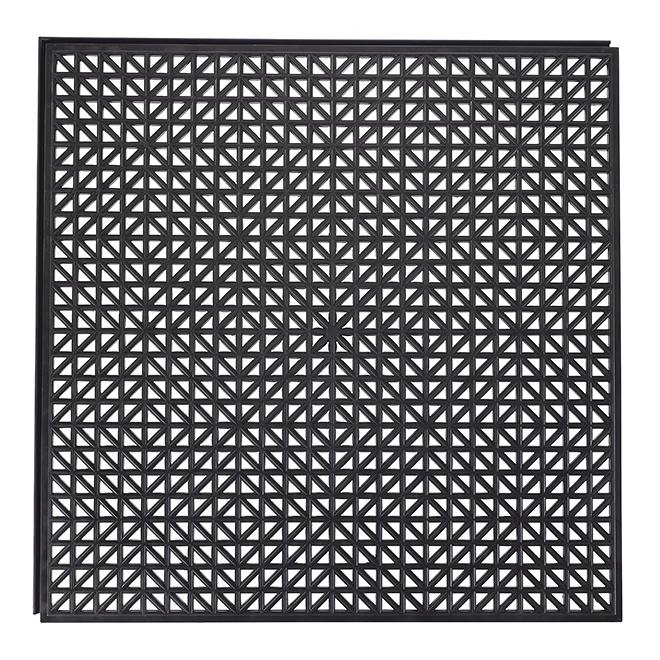 "Floor Tile - Recycled PVC - Black - 18"" x 18"""